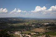 Landscape view along the plain from the town of Trevi, Umbria, Italy. Trevi is an ancient town and comune in Umbria, Italy, on the lower flank of Monte Serano overlooking the wide plain of the Clitunno river system.