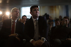 © Licensed to London News Pictures . 09/08/2016 . Salford , UK . ANDY BURNHAM MP (c) is selected as Labour's candidate in the race to be the Mayor of Greater Manchester . Pictured with IVAN LEWIS (l) . He and fellow candidates Ivan Lewis and Tony Lloyd were at an event at The Landing in Media City , Salford , for the declaration . Photo credit : Joel Goodman/LNP