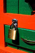 High security locking device (A.K.A. padlock) on door.  Battle Lake Minnesota USA