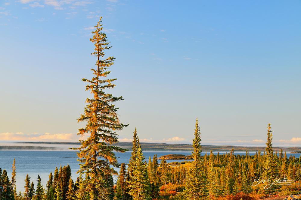 Morning mists over Ennadai Lake in early autumn, Arctic Haven Lodge, Ennadai Lake, Nunavut, Canada