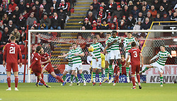 Aberdeen's Stevie May takes a free kick during the Scottish Premiership match at Pittodrie Stadium, Aberdeen.