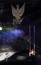 JAKARTA, Aug. 18, 2018  The national flag of Indonesia is raised during the opening ceremony of the 18th Asian Games at Gelora Bung Karno (GBK) Main Stadium in Jakarta, Indonesia, Aug. 18, 2018. (Credit Image: © Pan Yulong/Xinhua via ZUMA Wire)