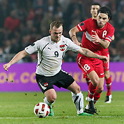 Turkey's Selcuk INAN (R) and Austria's Erwin HOFFER (L) during their UEFA EURO 2012 Qualifying round Group A soccer match Turkey betwen Austria at Sukru Saracoglu stadium in Istanbul March 29, 2011. Photo by TURKPIX