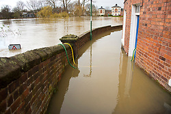 © Licensed to London News Pictures. 25/02/2020. Shrewsbury, Shropshire, UK. It starts to rain again as the River Severn levels continue to rise at Shrewsbury in Shropshire, UK causing severe flood disaster situation. Photo credit: Graham M. Lawrence/LNP