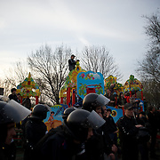 DONETSK, UKRAINE - April 17, 2014: Ukrainian riot policemen take guard at a pro-Ukraine rally in central Donetsk.