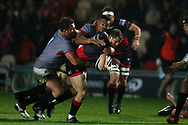 Hallam Amos of the Dragons ©  is tackled by the Kings Schalk Ferreira (no1). Guinness Pro14 rugby match, Dragons v Southern Kings at Rodney Parade in Newport, South Wales on Saturday 30th September 2017.<br /> pic by Andrew Orchard, Andrew Orchard sports photography.