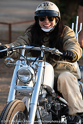Getting ready to take off on her Harley-Davidson Shovelhead chopper after the Okie Dokie Vintage Races put on by Go Takamine's Brat Style at West Point Off-Road Village, Kawagoe, Saitama, Japan. Tuesday, December 4, 2018. Photography ©2018 Michael Lichter.