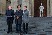 "Kate Allen, Director of Amnesty International UK, helped by Canon Mark Oakley (Chancellor of St Paul's Cathedral), installs Mark Wallinger's (All pictured) 'Ecce Homo' statue at St Paul's Cathedral. The life-size sculpture shows the figure of Jesus Christ and was the first artwork to be shown on Trafalgar Square's fourth plinth in 1999.Mark Wallinger, who won the Turner Prize in 2007, said: ""This vulnerable figure will stand at the top of the steps outside the entrance to St Paul's Cathedral as we approach Easter to highlight the plight of people around the world who are imprisoned and whose lives are threatened for speaking the truth, and for what they believe."""