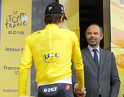 July 20, 2018 - Valence, France - VALENCE, FRANCE - JULY 20 : THOMAS Geraint (GBR) of Team SKY & French Prime Minister Edouard Philippe  during stage 13 of the 105th edition of the 2018 Tour de France cycling race, a stage of 169.5 kms between Bourg d'Oisans and Valence on July 20, 2018 in Valence, France, 20/07/2018 (Credit Image: © Panoramic via ZUMA Press)