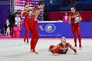 The national team of Ukraine during team final at the Pesaro World Championships at Virtifigo Arena, May 30, 2021.