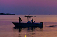 Boaters at twilight, Key Largo, Florida Keys, Florida USA