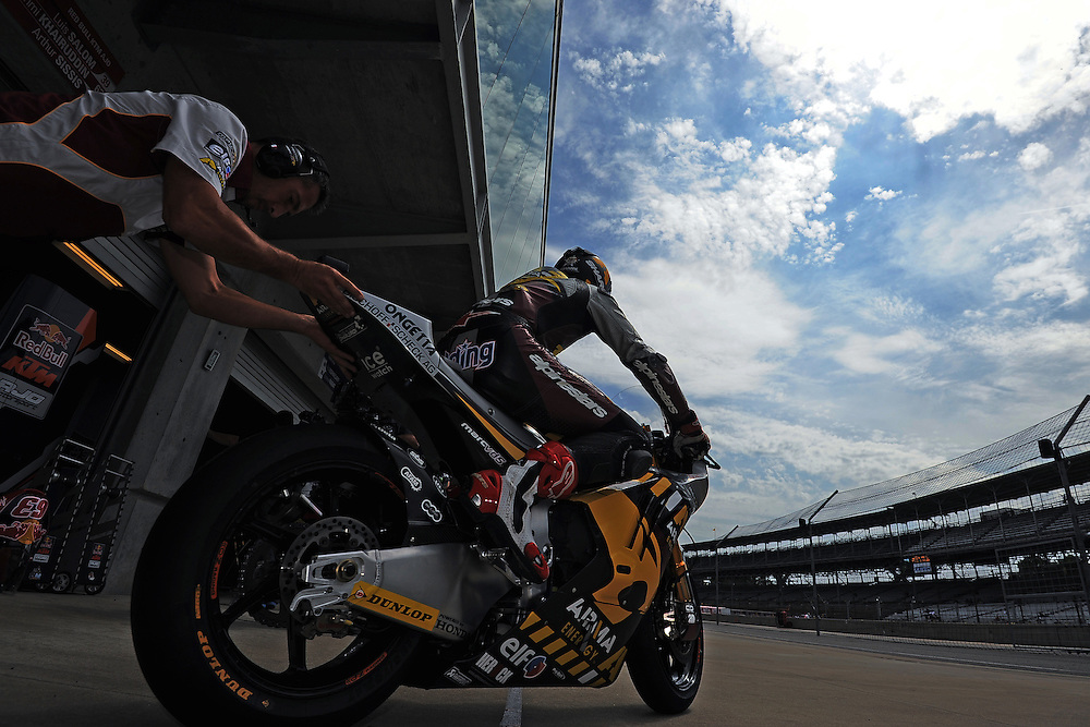 Scott Redding of the Marc VDS Racing Team in Moto2 at the Indianapolis Moto Grand Prix at Indianapolis Motor Speedway in Indiana.