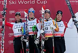 10.03.2010, Kandahar Strecke Herren, Garmisch Partenkirchen, GER, FIS Worldcup Alpin Ski, Garmisch, Men Downhill, im Bild Siegerpodest der Abfahrt, v.l. zweitplazierte Scheiber Mario, ( AUT, #13 ), Ski Atomic, erstplazierter Janka Carlo, ( SUI, #20 ), Ski Atomic, drittplazierte Guay Erik, ( CAN, #23 ), Ski Atomic und Kueng Patrick, ( SUI, #5 ), Ski Salomon, EXPA Pictures © 2010, PhotoCredit: EXPA/ J. Groder / SPORTIDA PHOTO AGENCY