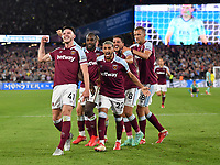 Football - 2021 / 2022 Premier League - West Ham United vs Leicester City - London Stadium - Monday 23rd August 2021<br /> <br /> West Ham United's Declan Rice celebrates the 2nd goal scored by Said Benrahma.<br /> <br /> COLORSPORT/Ashley Western
