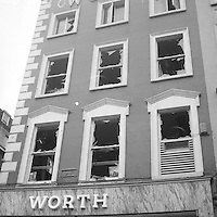Buildings with smashed windows in the aftermath of the Nelson's Pillar explosion in Dublin. March 8, 1966(Part of the Independent Newspapers/NLI Collection)