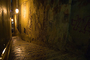 Typical alley in the old neighborhoods of Lisbon.
