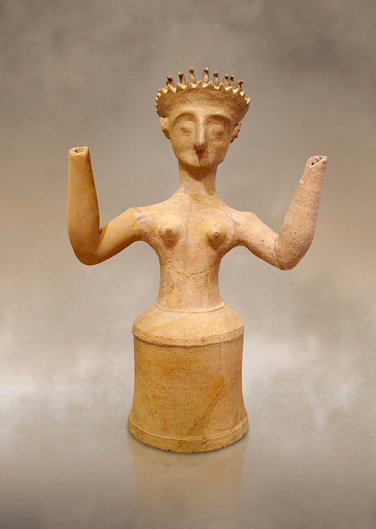 Minoan Postpalatial terracotta  goddess statue with raised arms, Kannia Sanctuary,  Gortys, 1350-1250 BC, Heraklion Archaeological Museum. <br /> <br /> The Goddesses are crowned with symbols of earth and sky in the shapes of snakes and birds, describing attributes of the goddess as protector of nature. .<br /> <br /> If you prefer to buy from our ALAMY PHOTO LIBRARY  Collection visit : https://www.alamy.com/portfolio/paul-williams-funkystock/minoan-art-artefacts.html . Type -   Heraklion   - into the LOWER SEARCH WITHIN GALLERY box. Refine search by adding background colour, place, museum etc<br /> <br /> Visit our MINOAN ART PHOTO COLLECTIONS for more photos to download  as wall art prints https://funkystock.photoshelter.com/gallery-collection/Ancient-Minoans-Art-Artefacts-Antiquities-Historic-Places-Pictures-Images-of/C0000ricT2SU_M9w