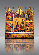 Gothic painted Panel Altarpiece of the Saints John by  Master of Santa Coloma de Queralt. Tempera and gold leaf on wood. Circa 1356. 220.5 x 209.8 x 11.5 cm. From the church of Sant Miquel de Tamarit de Llitera (Huesca). National Museum of Catalan Art, Barcelona, Spain, inv no: 004351-CJT .<br /> <br /> If you prefer you can also buy from our ALAMY PHOTO LIBRARY  Collection visit : https://www.alamy.com/portfolio/paul-williams-funkystock/romanesque-art-antiquities.html<br /> Type -     MNAC     - into the LOWER SEARCH WITHIN GALLERY box. Refine search by adding background colour, place, subject etc<br /> <br /> Visit our ROMANESQUE ART PHOTO COLLECTION for more   photos  to download or buy as prints https://funkystock.photoshelter.com/gallery-collection/Medieval-Romanesque-Art-Antiquities-Historic-Sites-Pictures-Images-of/C0000uYGQT94tY_Y