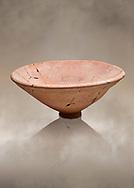 Hittite pottery bowl from the Hittite capital Hattusa, Hittite New Kingdom 1650-1450 BC, Bogazkale archaeological Museum, Turkey.