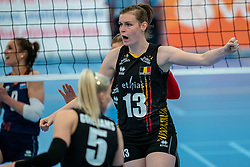 Marlies Janssens in action during the Women's friendly match between Netherlands and Belgium at Sporthal De Basis on may 19, 2021 in Sliedrecht, Netherlands (Photo by RHF Agency/Ronald Hoogendoorn)