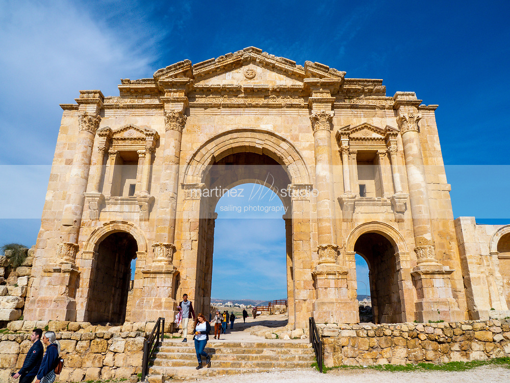 Hadrian's Arch<br /> main entrance to the ruins of the city  <br /> Jerash, Jordan<br /> January, 27, 2020
