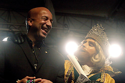 February 23 2009. New Orleans, Louisiana. <br /> Lundi Gras. The King of Rex, masked and unidentified comes ashore to give his Official Proclamation of Carnival, marking the commencement of the revelry that is Mardi Gras. The King meets with mayor Ray Nagin to make his announcement. Rex is the oldest traditional parade and King of Mardi Gras, founded in 1872.<br /> Photo; Charlie Varley/varleypix.com