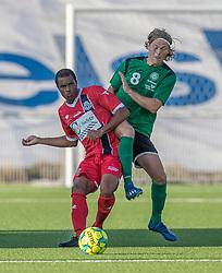 Ramón Rodrigues (FC Helsingør) og Christoffer Thrane (Næstved Boldklub) under træningskampen mellem FC Helsingør og Næstved Boldklub den 19. august 2020 på Helsingør Stadion (Foto: Claus Birch).