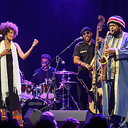WASHINGTON, DC - August 26, 2015 - Patrice Quinn, Tony Austin, Miles Mosely and Kamasi Washington perform at the Howard Theatre in Washington, D.C. After working with artists such as Kendrick Lamar and Flying Lotus, Washington is touring behind his debut studio album, The Epic.  (Photo by Kyle Gustafson / For The Washington Post)