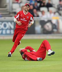 Liam Livingstone of Lancashire Lightning catches out Graham Clark of Durham Jets (Not Pictured) - Mandatory by-line: Jack Phillips/JMP - 23/07/2017 - CRICKET - Emirates Old Trafford - Manchester, United Kingdom - Lancashire Lightning v Durham Jets - Natwest T20 Blast