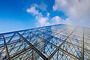 Pyramid detail, Louvre Museum, Paris, France