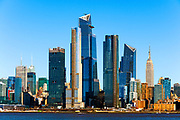 New York skyline in daytime featuring the skyscrapers of Hudson Yards, the West Side of Manhattan and the Hudson River, New York City.