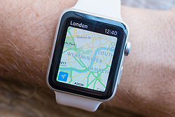 Apple maps navigation app showing London on an Apple Watch