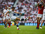Danny Care clears the ball during the The Old Mutual Wealth Cup match England -V- Wales at Twickenham Stadium, London, Greater London, England on Sunday, May 29, 2016. (Steve Flynn/Image of Sport)