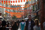 Lanterns along Gerrard Street in Chinatown. Soho, London, UK. Home to London's Chinese community.
