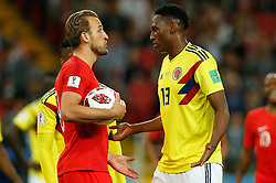 July 3, 2018 - Moscou, Rússia - MOSCOU, MO - 03.07.2018: COLOMBIA VS ENGLAND - Harry Kane of England and Yerry Mina of Colombia during match between Colombia and England valid for the eighth finals of the 2018 World Cup finals, held at the Otkrytie Arena in Moscow, Russia. (Credit Image: © Marcelo Machado De Melo/Fotoarena via ZUMA Press)