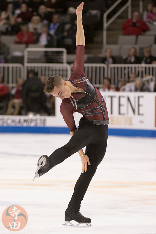 January 4, 2018; San Jose, CA, USA; Adam Rippon in the mens short program during the 2018 U.S. Figure Skating Championships at SAP Center.