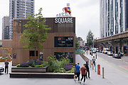 The iconic Elephant at Elephant and Castle in south London, has returned after restoration, to its new place overlooking Elephant Square, on 24th June 2021, in London, England. The statue, a replica of the one that stood above the Elephant and Castle pub from 1898 to 1959, was taken down earlier this year from outside the recently demolished shopping centre. CREDIT RICHARD BAKER.