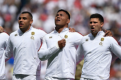 Joe Marchant, Manu Tuilagi and Ben Youngs of England sing the national anthem - Mandatory byline: Patrick Khachfe/JMP - 07966 386802 - 11/08/2019 - RUGBY UNION - Twickenham Stadium - London, England - England v Wales - Quilter International