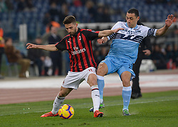 February 26, 2019 - Rome, Italy - Fabio Borini and  Romulo during the Italian Cup football match between SS Lazio and AC Milan at the Olympic Stadium in Rome, on february 26, 2019. (Credit Image: © Silvia Lore/NurPhoto via ZUMA Press)