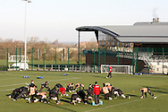 Picture by Andrew Tobin/Focus Images Ltd. 07710 761829.. 2/2/12. The England squad warm up during the England team training session held for the first time at Surrey Sports Park, Guildford, UK, before their 6-Nations game against Scotland