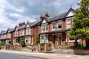 Semi-detached red brick Victorian villas, Ivry Street, Ipswich, Suffolk, England, UK
