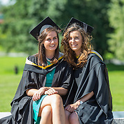 """25.08.2016          <br />  Faculty of Business, Kemmy Business School graduations at the University of Limerick today. <br /> <br /> Attending the conferring were Bachelor of Business Studies graduates, Karen Roche, Loughrea Co. Galway and Kate O'Brien, Kildimo Co. Limerick. Picture: Alan Place.<br /> <br /> <br /> <br /> As the University of Limerick commences four days of conferring ceremonies which will see 2568 students graduate, including 50 PhD graduates, UL President, Professor Don Barry highlighted the continued demand for UL graduates by employers; """"Traditionally UL's Graduate Employment figures trend well above the national average. Despite the challenging environment, UL's graduate employment rate for 2015 primary degree-holders is now 14% higher than the HEA's most recently-available national average figure which is 58% for 2014"""". The survey of UL's 2015 graduates showed that 92% are either employed or pursuing further study."""" Picture: Alan Place"""