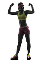 one  woman exercising fitness flexing muscles in silhouette on white background