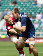 """Twickenham, Surrey United Kingdom. [L] Wales, Sam CROSS, gets to grips with USA's Ben PINKELMAN, during the Pool A match at the <br /> """"2017 HSBC London Rugby Sevens"""",  Saturday 20/05/2017 RFU. Twickenham Stadium, England    <br /> <br /> [Mandatory Credit Peter SPURRIER/Intersport Images]"""