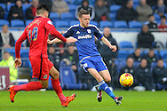 Cardiff City's Craig Noone (r) takes on Blackburn Rover's Ben Marshall. Skybet football league championship match, Cardiff city v Blackburn Rovers at the Cardiff city stadium in Cardiff, South Wales on Saturday 2nd Jan 2016.<br /> pic by Carl Robertson, Andrew Orchard sports photography.
