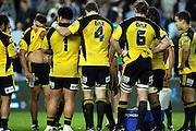 Hurricanes dejected. John Schwalger, Jeremy Thrush and Michael Paterson<br /> Super 14 rugby union match, Waratahs vs Hurricanes, Sydney, Australia. <br /> Saturday 14 May 2010. Photo: Paul Seiser/PHOTOSPORT