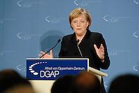 08 NOV 2006, BERLIN/GERMANY:<br /> Angela Merkel, CDU, Bundeskanzlerin, waehrend einer europapolitischen Grundsatzrede vor dem Alfred von Oppenheim-Zentrum fuer Europaeische Zukunftsfragen der Deutschen Gesellschaft fuer Auswaertige Politik, DGAP<br /> IMAGE: 20061108-02-013<br /> KEYWORDS: speech