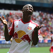HARRISON, NEW JERSEY- JULY 24: Bradley Wright-Phillips #99 of New York Red Bulls reacts after missing a goal scoring opportunity during the New York Red Bulls Vs New York City FC MLS regular season match at Red Bull Arena, Harrison, New Jersey on July 24, 2016 in Harrison, New Jersey. (Photo by Tim Clayton/Corbis via Getty Images)