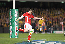 © Licensed to London News Pictures. 16/06/2012. Etihad Stadium, Melbourne Australia. Rhys Priestland kicks out from the backline during the 2nd Rugby Test between Australia Wallabies Vs Wales . Photo credit : Asanka Brendon Ratnayake/LNP