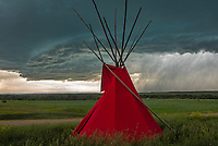 I chased this severe thunderstorm on the Crow Indian Reservation. These tepees at the trading post in Crow Agency made for a nice foreground.